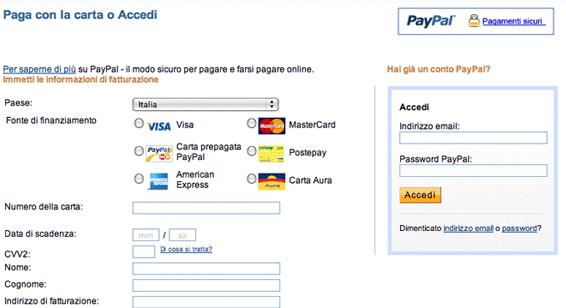 Paga con PayPal o Carta di Credito