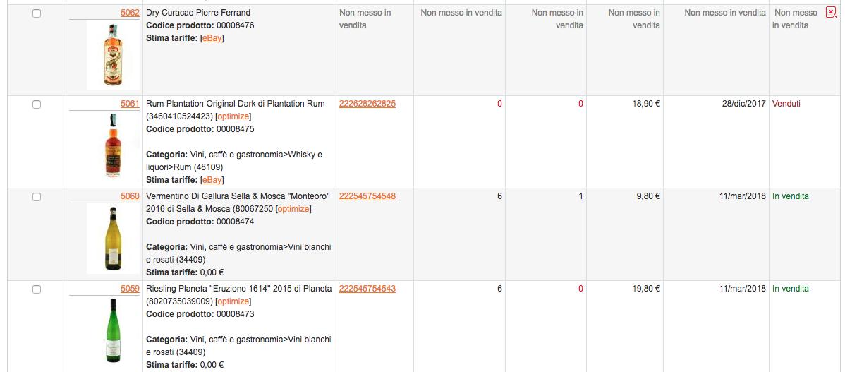 M2E Pro - Esempio dell'area gestione prodotti e inserzioni per eBay in Magento