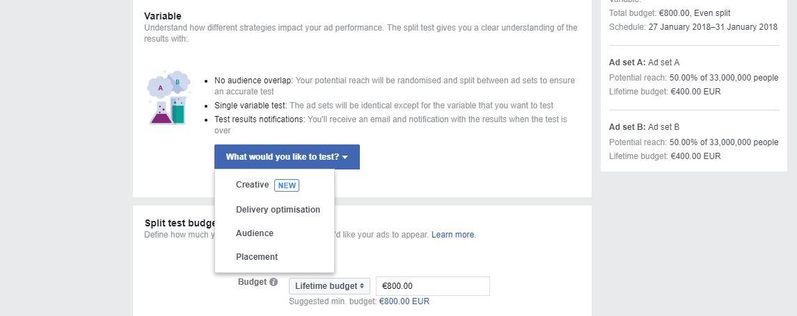 A/B Test Facebook Ads
