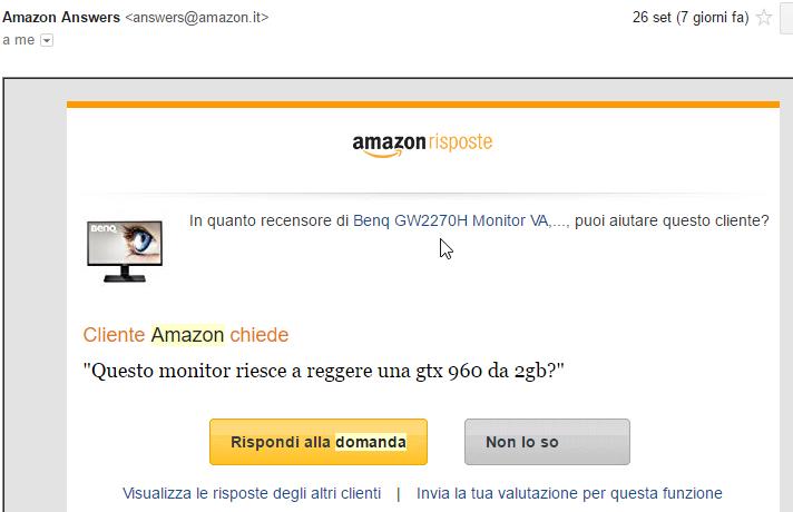Amazon richiesta di commento