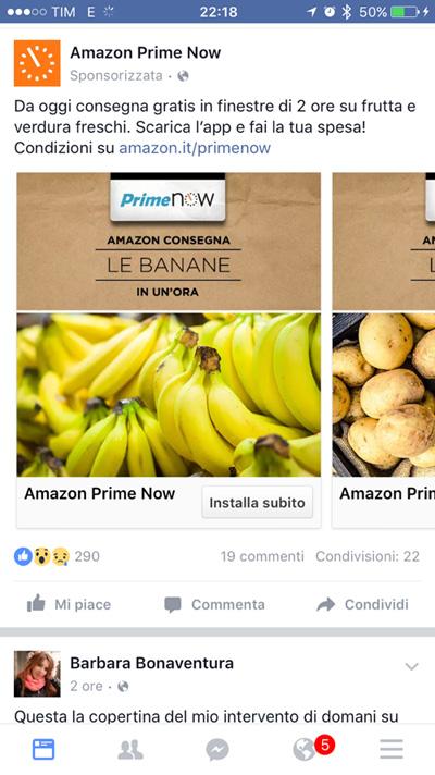 Facebook Ads - Amazon Prime Now