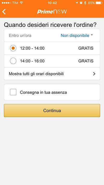 Fasce orarie - Amazon Prime Now