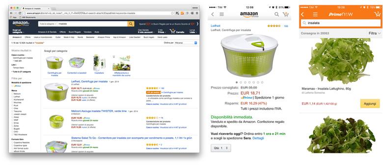 Confronto app e desktop - Amazon Prime Now