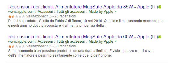 Recensione Apple snippet google
