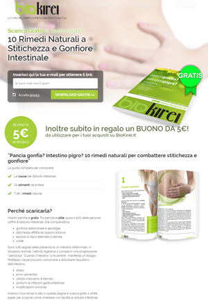 Screenshot landing page download guida biokirei