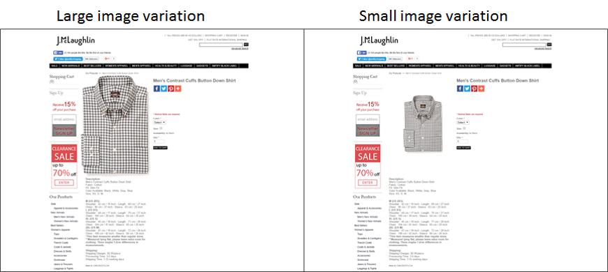 Screeshot test A/B immagine piccola e grande scheda prodotto