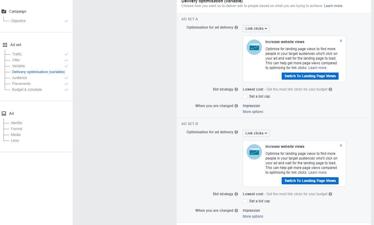 Ottimizza il delivery con gli A/B Test di Facebook ads