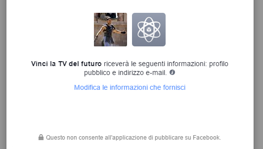 facebook login permessi