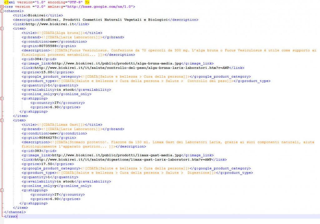 codice feed prodotti