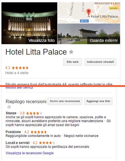 Recensioni Google Hotel Litta Palace