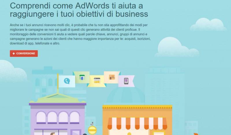 Così si presenta l'area Conversioni di AdWords al momento del primo inserimento. Si raggiunge da Strumenti > Conversioni
