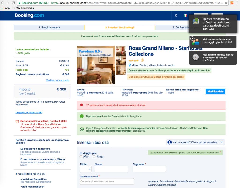 Booking: carrello e-Commerce