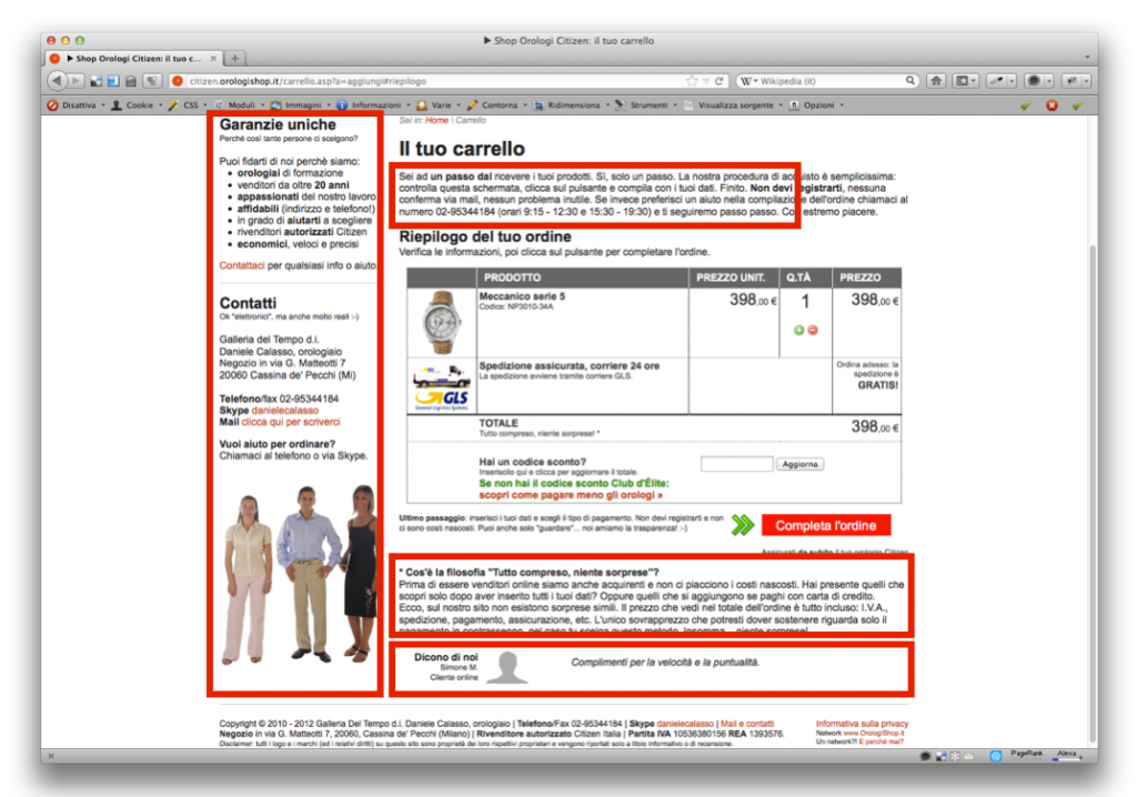 OrologiShop: carrello e-Commerce