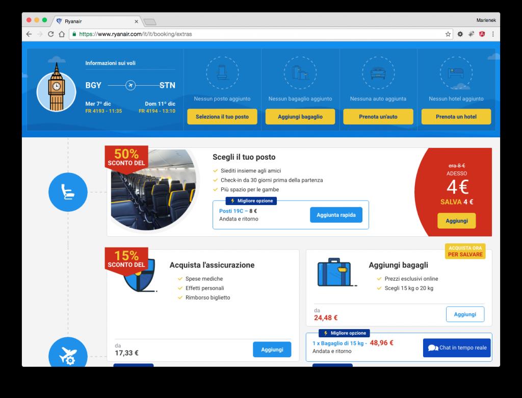 Ryanair: carrello e-Commerce