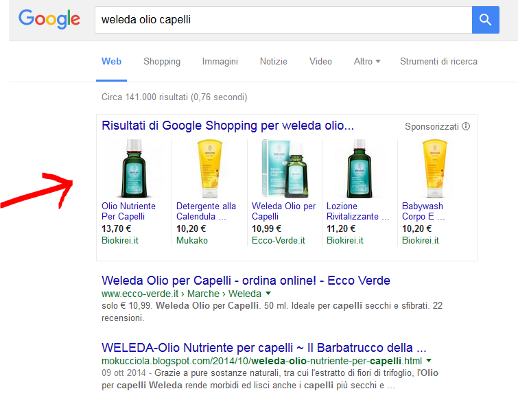 Google Shopping come visto in SERP