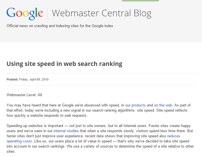 site speed in web search ranking (source Google Webmaster)