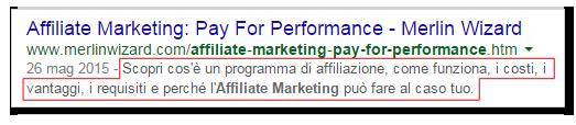 La meta descrizione nei risultati di Google