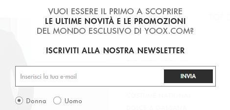 Esempio Newsletter Yoox